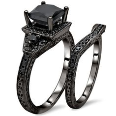14k Gold 2ct TDW Certified Black Princess Cut Diamond Bridal Set | Overstock.com Shopping - The Best Deals on Diamond