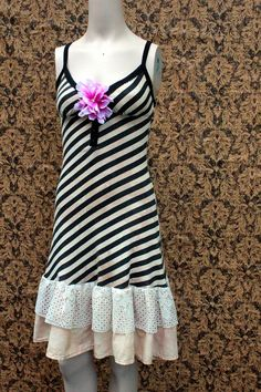 REVIVAL Upcycled Tank Top Dress Striped Shabby Chic  by REVIVAL, $38.99