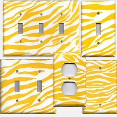 Bright Yellow & White Zebra Print Light Switch Plates and Wall Outlet Covers Home Decor Accents Light Switch Covers