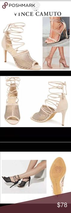 """NWT Vince Camuto Vasha Nubuck Lace-Up Sandal 6/6.5 NWT Vince Camuto Vasha Nubuck Lace-Up Sandal – 6. RETAIL: $140 - COULD EASILY FIT A 6.5 AS THAT IS MY SIZE AND THEY FIT PERFECTLY. diamond-cutout upper intensifies the sultry appeal of an alluring leather sandal topped with thin wraparound laces and set on a tall stiletto heel. Sizing: True to Size. Open toe - Cutout vamp detail - Lace-up style with wraparound tie closure - Lightly padded insole - Stiletto heel- Approx. 4"""" heel. Brand new…"""