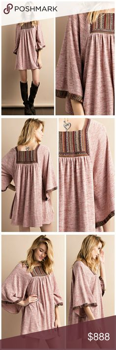 """Vintage trim knit dress/tunic Vintage trim details make this super soft long sleeve two-tone melangie knit dress pop! Color: rust. See size chart above. My model is 5'5"""", size 6, wearing a small. Original photos taken be me. Please do not copy. Tops Tunics"""