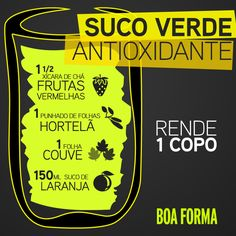 Hora de limpar o organismo e diminuir o excesso de radicais livres! Não sabe como fazer isso? Aposte no suco verde antioxidante =)