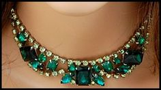 Vintage 1960s Shades of Kelly Green Rhinestone Encrusted Bib Choker Necklace #Choker