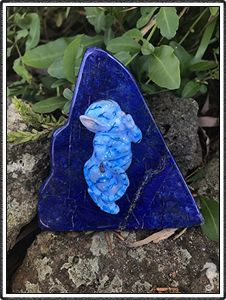 "polymer clay sculptures, sculpture artist,      Crystal Keeper ""Elgin"" (name meaning Noble)     Handmade Item     Materials: Lapis Lazuli, Polymer Clay, Glass     Represents: Inner Power, Protection and Truth Avatar Baby"