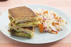 Avocado Tempura & Kohlrabi Tortas with Atlas Carrot & Cabbage Slaw Turnip Recipes, Carrot Recipes, Cabbage Recipes, Lime Recipes, Avocado Recipes, Tempura Mix, Mexican Sandwich, Carrot Slaw, Cabbage Slaw