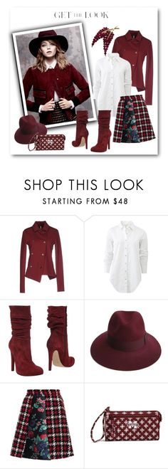 """""""Get the Look: Emma Stone"""" by metter1 ❤ liked on Polyvore featuring Antonio Marras, rag & bone, Jolie By Edward Spiers, Justine Hats, MSGM, Vera Bradley and Trifari"""