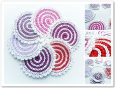 Made in K-town: New Spiral Coasters. Free pattern here: http://made-in-k-town.blogspot.de/2012/06/spiral-coasterpotholder-pattern.html.   ☀CQ #crochet   http://pinterest.com/CoronaQueen/crochet-for-the-home-corona/