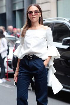 45 outfit ideas to start fall fashion with a bang, including this off-the-shoulder white top