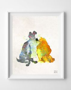 Lady and the Tramp Disney Print Watercolor Poster by InkistPrints, $11.95 - Shipping Worldwide! [Click Photo for Details]