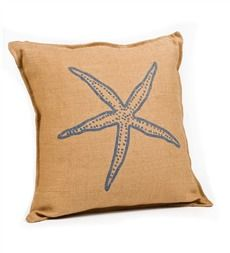 Washed Burlap Starfish Accent Pillow