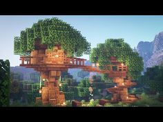 Have you ever wanted to live it up in the trees, looking over your Minecraft world? Well now's your chance with this treehouse guide! Rest comfortably in you. Minecraft Treehouses, Cute Minecraft Houses, Minecraft Plans, Amazing Minecraft, Minecraft Tutorial, Minecraft Creations, Minecraft Designs, Lego Minecraft, Minecraft Crafts