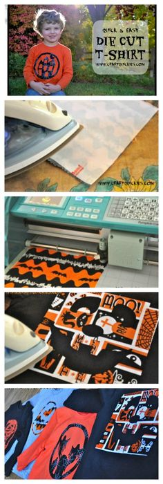 These Quick & Easy Die Cut T-Shirts are a fun no-sew way to make festive shirts for yourself or your kiddos that are perfect for Halloween or anytime!