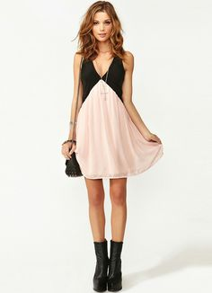 Black Pink Deep V Neck Hollow Chiffon Dress