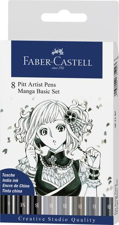 These pens were developed for professional manga artists. They are perfect for creating comic or manga illustrations. These pens will not bleed through and can be layered on paper, canvas, books, journals, or bibles. Faber Castell, Pitt Artist Pens, Manga Drawing Tutorials, Family Wishes, Tinta China, Comic, India Ink, Manga Artist, Drawing Practice