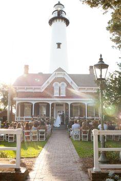 St Simons Island Wedding And Lighthouse Reception Photographers Weddings Pinterest Saint Simon
