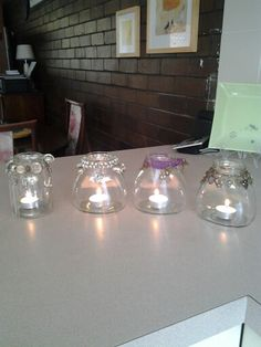 Jars made lovely from a bag of junk jewelry Jars, Lighting, Jewelry, Home Decor, Jewlery, Decoration Home, Pots, Jewerly, Room Decor