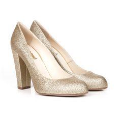 200f7d442db Archie B Gold Glitter Vegan Leather Court Shoes