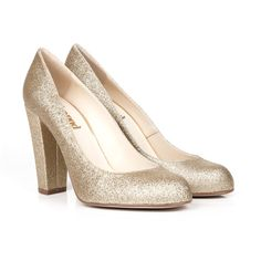 Archie B Gold Glitter Vegan Leather Court Shoes | Beyond Skin