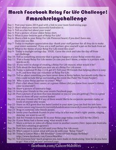 Cassi Selby: March Facebook Relay For Life Challenge!