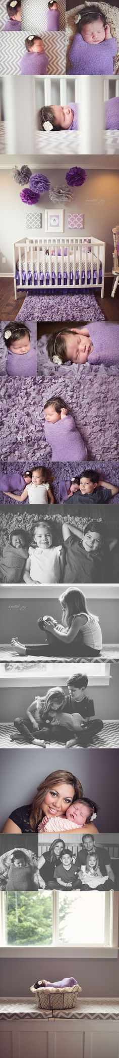 First I noticed the adorable baby in the dreamiest purple and grey nursery ever. Then I thought OMG!! these are some of the cutest new born pics!! I love the one of the baby and big sissy holding her