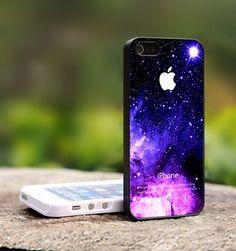 Purple Galaxy Nebula Apple Logo - For iPhone 4,4S Black Case Cover | TheCustomArt - Accessories on ArtFire