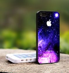 Purple Galaxy Nebula Apple Logo - For iPhone 4,4S Black Case Cover | TheCustomArt - Accessories on ArtFire