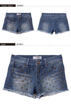 CICI-SHOP  Studded Denim Shorts