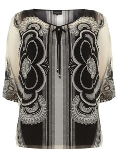 Live Unlimited Black and White Scarf Print Top - Tops & Tunics - Clothing - Evans US