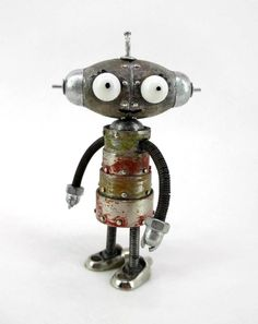 scrap metal for art Recycled Robot, Recycled Art, Repurposed, Found Object Art, Found Art, Sculpture Metal, Sculpture Ideas, Art Sculptures, Steampunk Robots