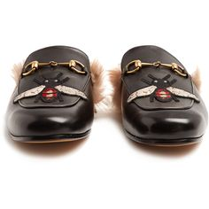ff0911b84bf Gucci Princetown bee-appliqué shearling-lined loafers (3