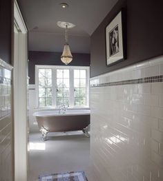 kind of in love with the white subway tile and choclate accents/paint...maybe in the new bathroom....