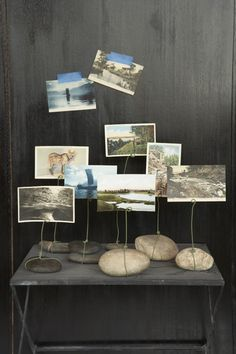 Photo or art display from rocks and wire