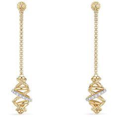 Women's David Yurman Crossover Chain Drop Earrings With Diamonds In... (8.535 RON) ❤ liked on Polyvore featuring jewelry, earrings, gold jewelry, diamond earrings, 18k diamond earrings, 18k gold earrings and diamond drop earrings