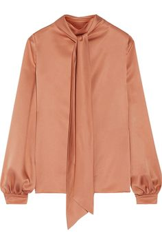 Pussy-bow silk-satin blouse | TOM FORD | Sale up to 70% off | THE OUTNET