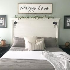 Are you searching for inspiration for farmhouse bedroom? Browse around this site for perfect farmhouse bedroom pictures. This unique farmhouse bedroom ideas seems completely terrific. Shiplap Headboard, White Headboard, Headboard Ideas, Diy Headboards, Above Headboard Decor, Diy Headboard With Lights, Paint Headboard, Farmhouse Headboards, Rustic Headboard Diy