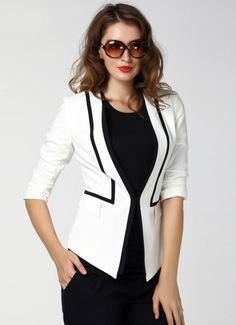 Buy White Half Sleeve Fitted Blazer from abaday.com, FREE shipping Worldwide - Fashion Clothing, Latest Street Fashion At Abaday.com