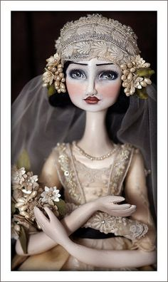 Art Doll Azucena by DuBuhDuDesigns on Etsy....Beautiful! All the lovely details,  look at those eyes!! the  hand dyed vintage lace & the hand painted flowers... the headdress ....notice the little silk shoes.....I could go on. Beautiful