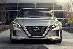 "Nissan's concept car highlights the automaker's vision for self-driving technology as well as its cars' general design features going forward. Starting with design, the concept comes with the new version of Nissan's ""V"" grille design, which now takes up the entire front of the car."