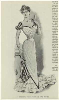 An evening dress in black and white with lovely dress decoration, trimmings and details (1900)