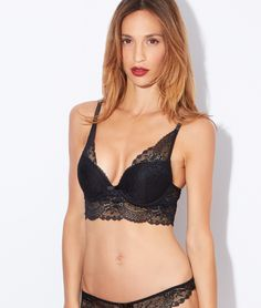 666c24f1ae Lace triangle push up bra - BIJOU - BLACK - Etam Veste Tailleur