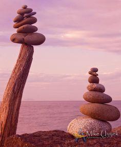 Balanced rock cairns or heiau along the beach at Port Angeles, Washington