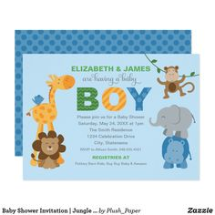 Baby Shower Invitation | Jungle Animals for Boy Cute baby jungle animal friends, including a lion, giraffe, bird, monkey, elephant, and hippo, frame this modern and sweet safari themed baby shower invitation. Polka dot and stripe pattern accents. Light sky blue with green, orange, blue, tan, brown, and gray colors. Perfect for a baby boy!