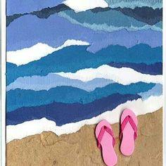 Torn paper ocean and beach. A fun summer art project for kids! Torn paper ocean and beach. A fun summer art project for kids! Summer Art Projects, Summer Crafts, Projects For Kids, Beach Crafts, Torn Paper, Rice Paper, Tissue Paper, Art Club, Art Plastique