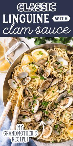 Clam Recipes, Fish Recipes, Dinner Recipes, Cooking Recipes, Linguine Recipes, Seafood Pasta Recipes, Linguine Vongole Recipe, Clam Pasta, Pasta With Clams