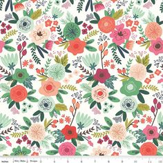 a0fa914e7d5 On Trend Main White - Riley Blake Designs - Green Floral Flowers - Jersey  KNIT cotton lycra stretch fabric - choose your cut