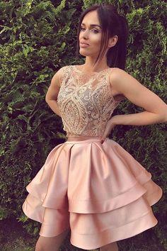 2017 Homecoming Dress Beading Short Prom Dresses #homecomingdresses #shortpromdresses #promdresses #sexypromdresses