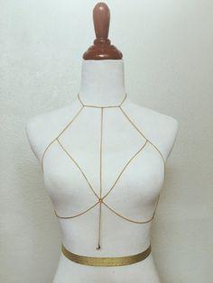 The Luna Chain Bralette Body Chain by ForGoodAndMad on Etsy