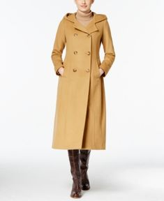 Anne Klein Hooded Wool-Cashmere Double-Breasted Maxi Coat - Tan/Beige 14