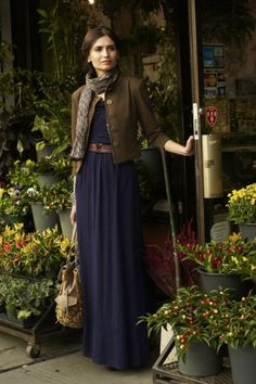 maxi dress with brown leather jacket by camber