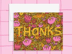 Blooming Thank You Card by wildonestudio on Etsy